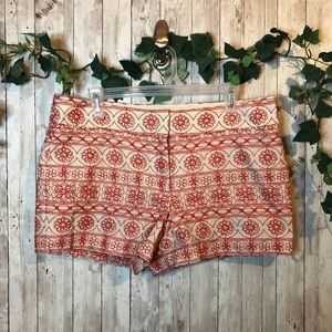 Loft Floral Woven Embroidered Shorts Size 10